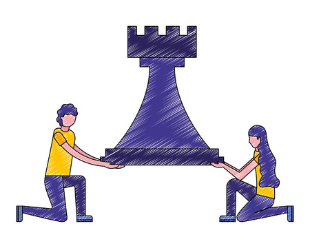 man and woman holding chess rook figure vector illustration Çizim