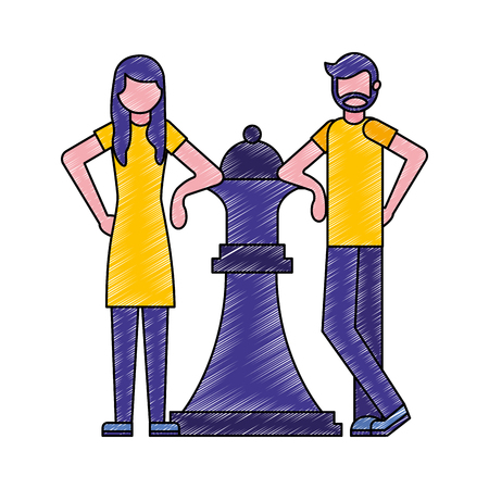 man and woman with big piece chess queen vector illustration Illusztráció