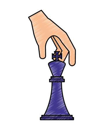 hand  holding  chess piece king vector illustration