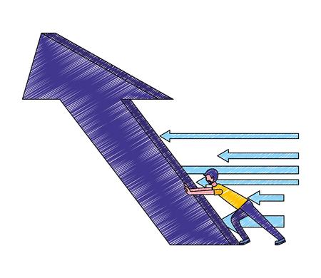 man pushing big arrow financial success vector illustration Reklamní fotografie - 112073234