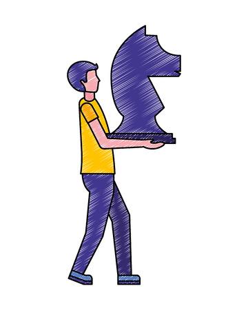 business man holding piece chess knight vector illustration  イラスト・ベクター素材