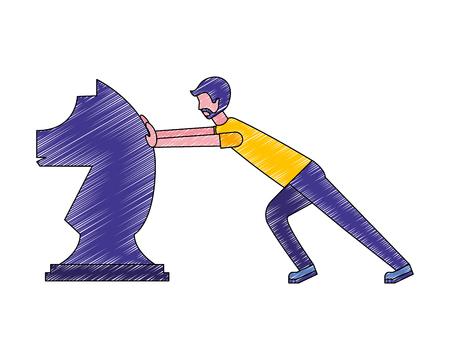 man pushing chess piece knight strategy vector illustration Ilustrace