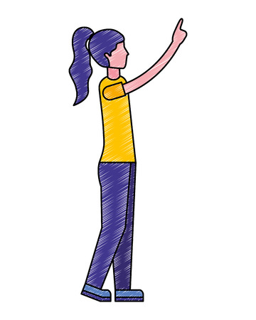 side view of woman pointing somewhere vector illustration