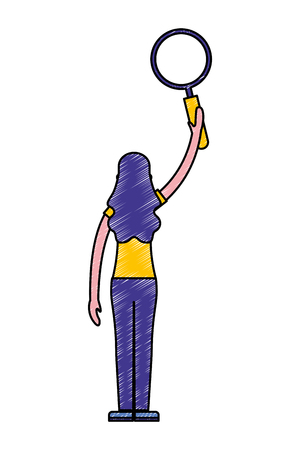 woman back view holding magnifying glass vector illustration Standard-Bild - 112073242