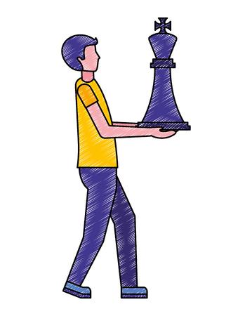 businessman holding chess king piece vector illustration Reklamní fotografie - 112073245