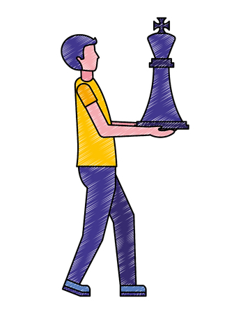 hombre de negocios, tenencia, ajedrez, rey, pieza, vector, ilustración