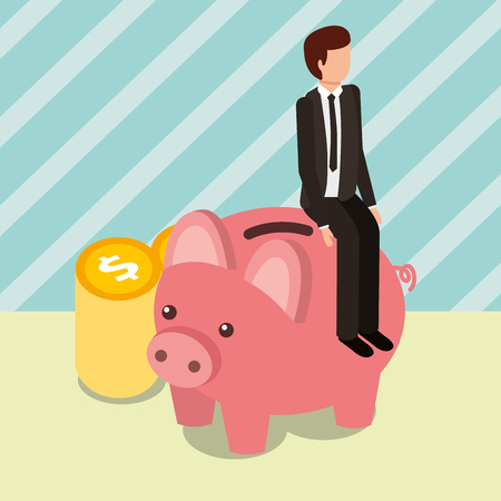 businessman sit on piggy bank and pile coins money vector illustration isometric