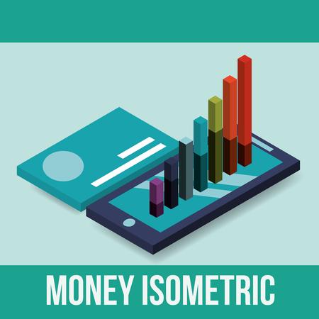 smartphone and statistics graph credit card money vector illustration isometric Illustration
