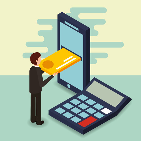businessman smartphone credit card and calculator money vector illustration isometric