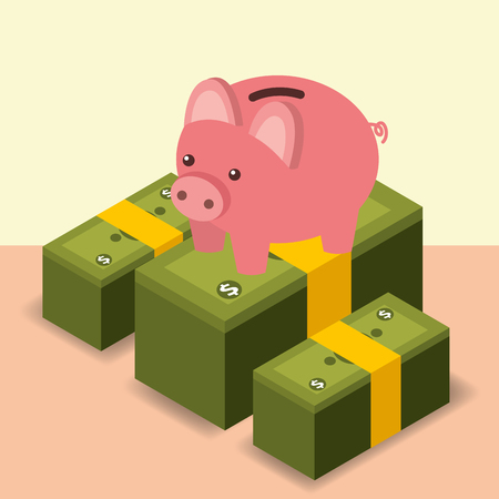 business piggy bank stacked banknote money vector illustration isometric