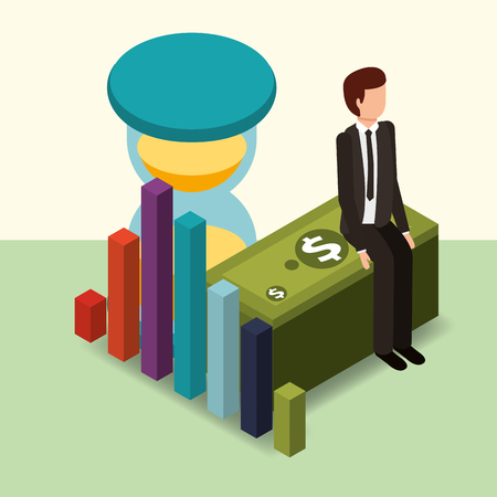businessman sitting on banknote hourglass and diagram money vector illustration isometric Ilustracja