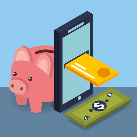 smartphone credit card banknote and piggy bank money vector illustration isometric