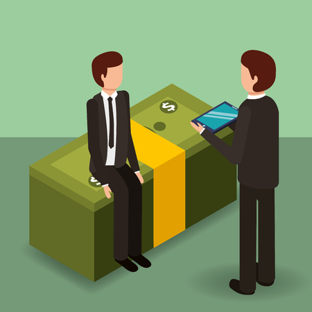 businessmen with tablet computer and pile banknotes money vector illustration isometric