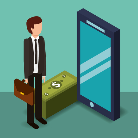businessman holding briefcase smartphone and banknotes money vector illustration isometric Иллюстрация