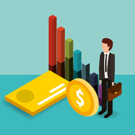 businessman with bank card coin and chart money vector illustration isometric