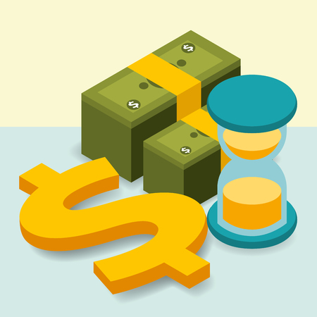 business hourglass pile banknotes dollar money vector illustration isometric