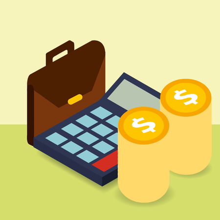 business briefcase calculator and pile coins money vector illustration isometric