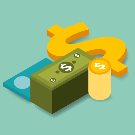 business bank credit card banknote and coins money vector illustration isometric