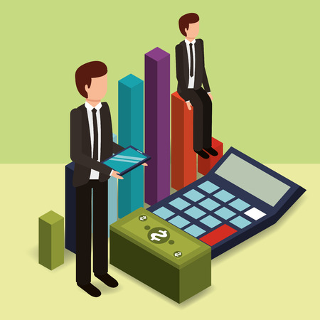 businessmen with tablet calculator chart and banknote money vector illustration isometric Illustration