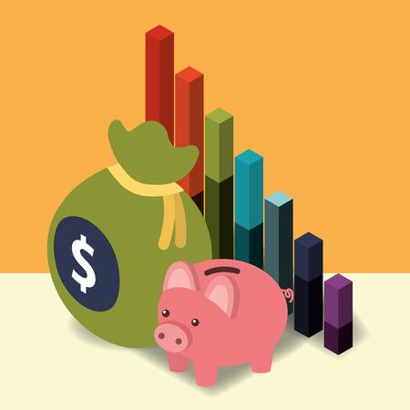 business piggy bank diagram chart and bag money vector illustration isometric Illustration
