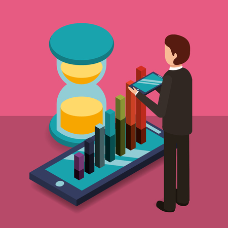 businessman with mobile diagram bars and hourglass money vector illustration isometric