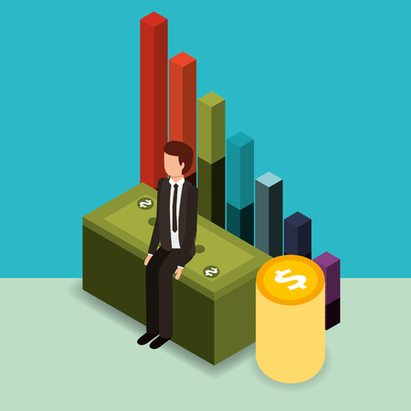 businessman sit on pile banknote coins and chart money vector illustration isometric