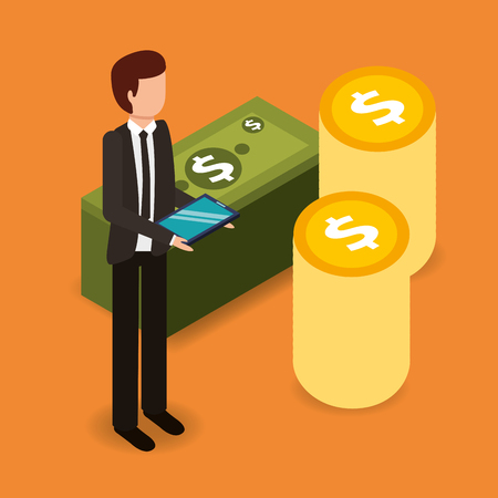 businessman with tablet computer and pile coins banknotes money vector illustration isometric