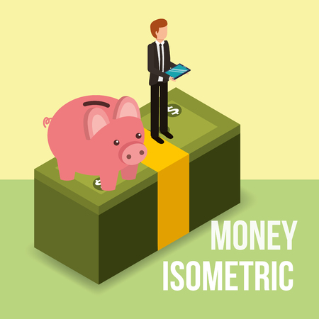 businessman standing with piggy on pile banknote money isometric vector illustration