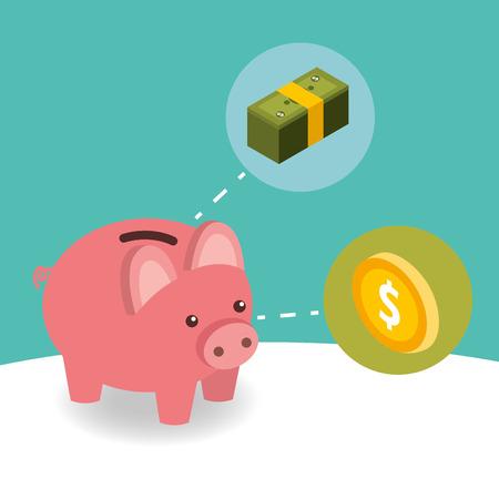 tirelire entreprise pièce et pile billet de banque argent illustration vectorielle isométrique