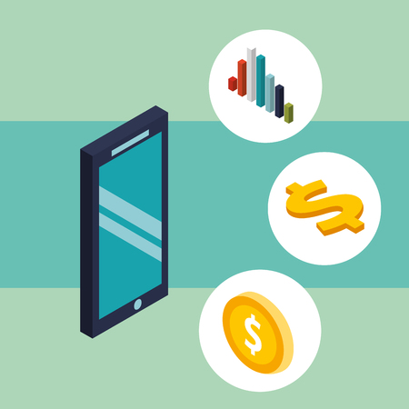 smartphone chart coin currency and dollar money isometric vector illustration
