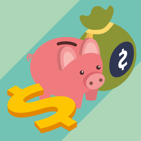 business piggy bank bag and dollar money isometric vector illustration Foto de archivo - 112054144