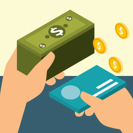hands with bank card and banknote coins money isometric vector illustration
