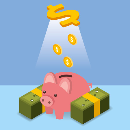 dollar coins pouring piggy bank money isometric vector illustration