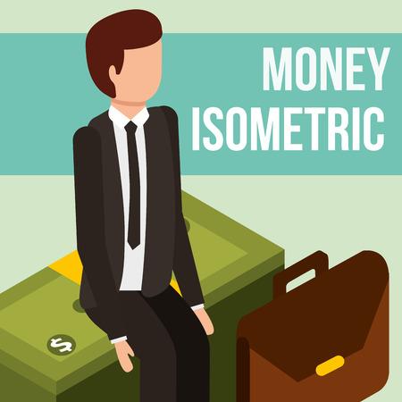 businessman sitting on stack banknote money isometric vector illustration