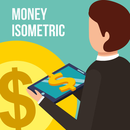 businessman with tablet computer coin dollar money isometric vector illustration Illustration