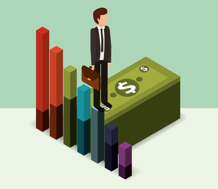 businessman standing pile banknote money isometric vector illustration