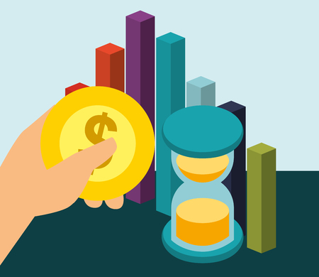 hand holding coin hourglass and chart bar money isometric vector illustration