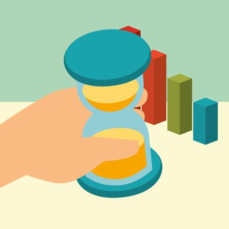 hand holding business hourglass chart statistics money isometric vector illustration