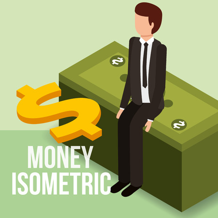 businessman sitting on stack banknote dollar money isometric vector illustration