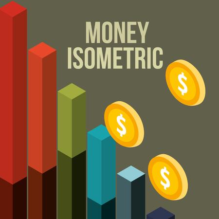 biznes statystyki finansowe bar monety pieniądze izometryczna ilustracja wektorowa