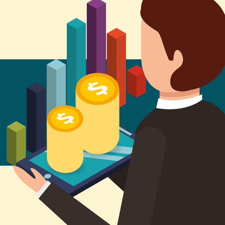 businessman holding tablet with coins and chart money isometric vector illustration