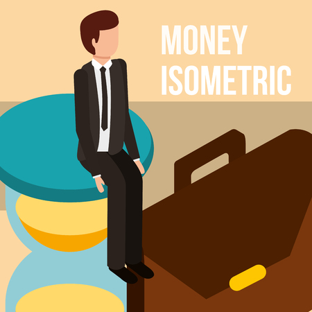 businessman on hourglass and briefcase money isometric vector illustration