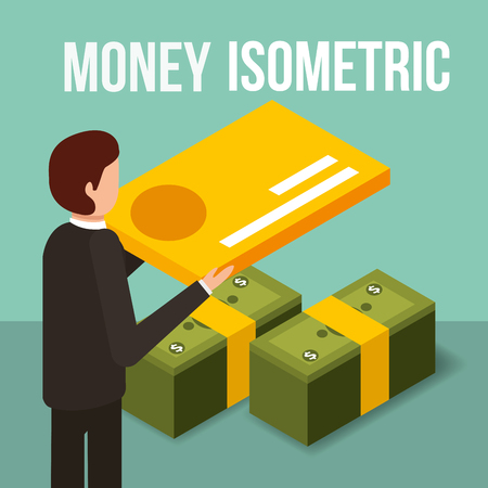 businessman holding credit card and banknotes money isometric vector illustration