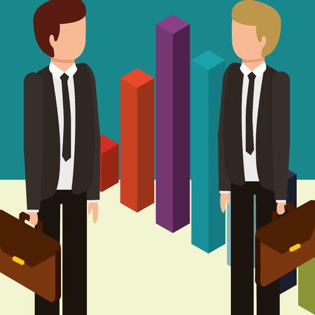 businessmen with briefcases and statistics chart money isometric vector illustration Ilustração
