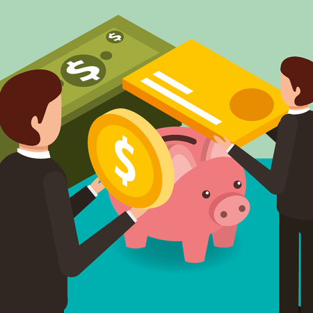 businessmen with coin credit card and piggy bank money isometric vector illustration