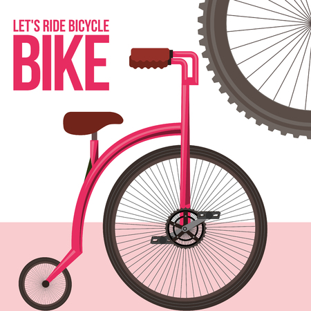 bike is good pink biycle sign wheel vector illustration Ilustração
