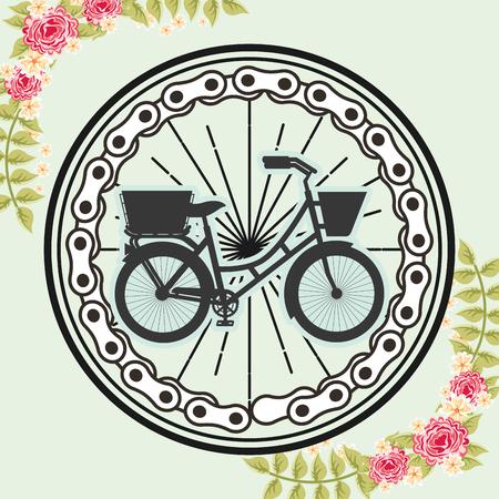 bike repair and shop wheels sign vector illustration