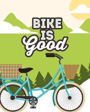 bike is good sunny day mountains basket bicycle vector illustration