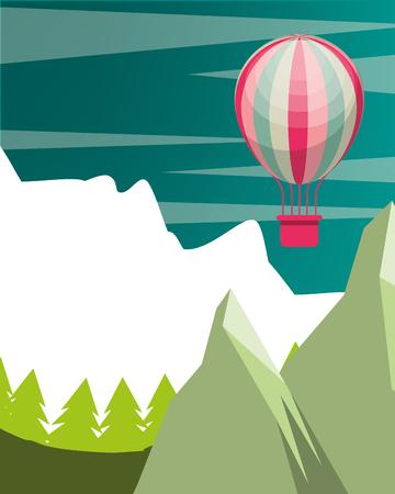 snow mountain rockets pine trees hot air balloon vector illustration