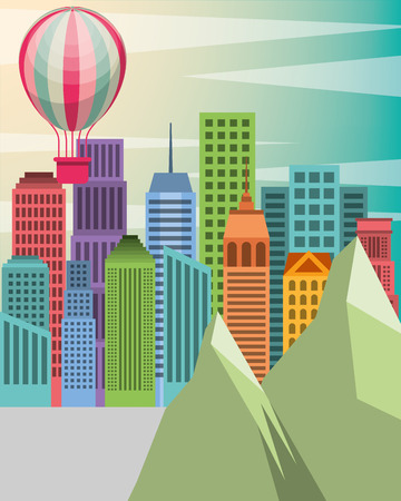 buildings city rocks hot air balloon vector illustration